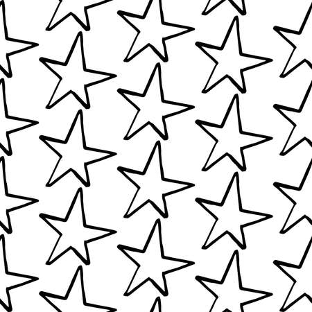 Stars pattern. Hand-drawn doodle stars on white background. Seamless vector backdrop. Black and white.