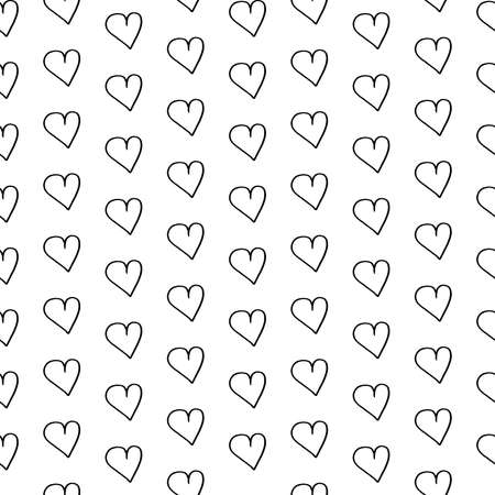 Hearts doodle pattern. Hand-drawn black hearts on white background. Seamless vector backdrop. Black and white.
