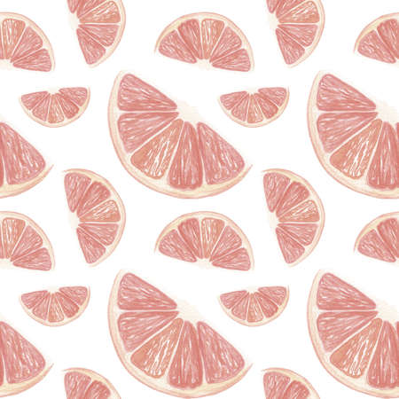 Grapefruit background. Hand drawn watercolor grapefruit slices of grapefruit on a white backdrop. Seamless pattern.