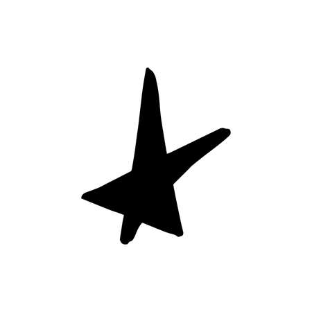 Hand drawn one star. Simple doodle style icon. Single, careless painted vector star. Black isolated on a white background. Illustration