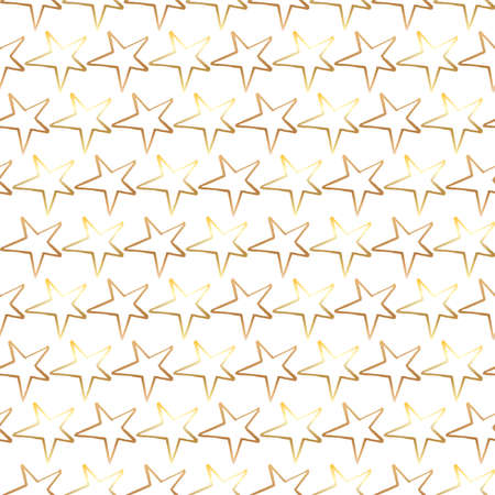 Stars golden pattern. Hand-drawn doodle stars on white background. Seamless vector backdrop.