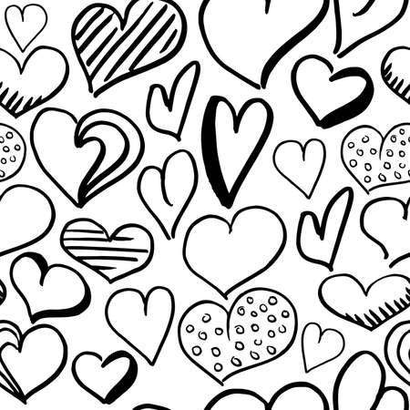 Hearts doodle pattern. Hand-drawn black hearts on white background. Seamless vector backdrop. Black and white Illustration