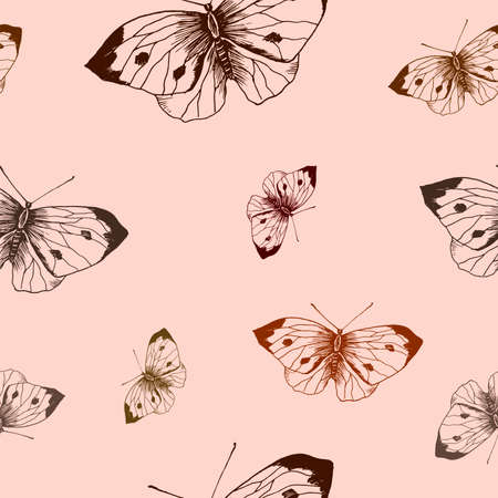 Butterfly pattern. Hand drawn brown butterflies on pink background. Seamless vector backdrop.