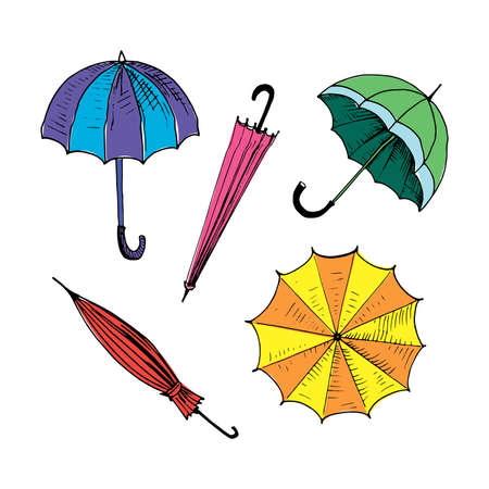 Umbrellas set. Collection of isolated painted colored umbrellas. Multicolor bright doodle illustration. Hand drawn vector illustration without background