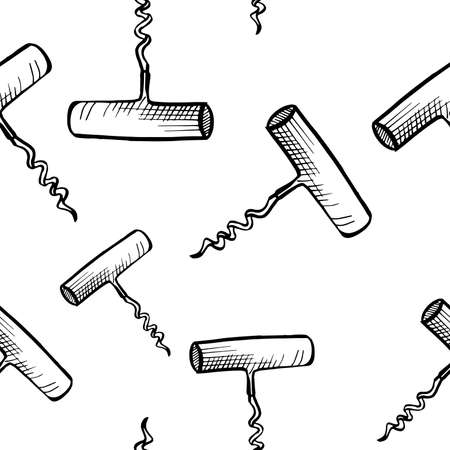 Corkscrew pattern. Seamless vector background. Hand drawn sketch style black corkscrews on white backdrop