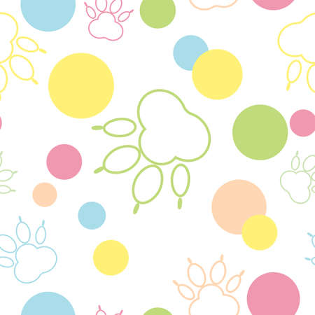 Paw pattern, seamless vector pattern silhouettes of paw, cat feet, dog footprint. Multicolor on a transparent background background. Bright seamless vector pattern without background