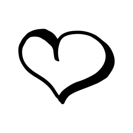 Hand drawn one heart. Simple doodle style icon. Single, careless vector heart. Black isolated on a white background