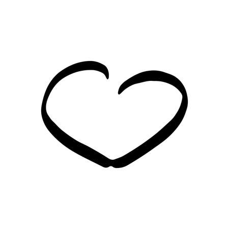 Hand drawn one heart. Simple doodle style icon. Single, careless vector heart. Black isolated on a white background Illustration
