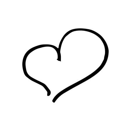 Hand drawn one heart. Simple doodle style icon. Single, careless vector heart. Black isolated on a white background Ilustrace