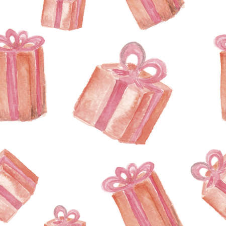Festive background. Hand drawn watercolor gift boxes with ribbon on white background. Seamless pattern