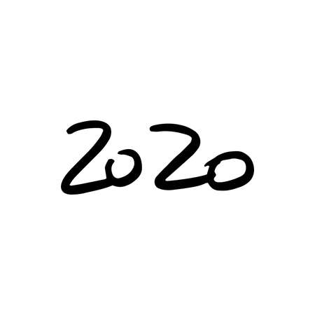 Hand drawn simple doodle lettering 2020. Vector, isolated on white background
