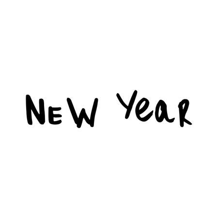 Lettering new year . Hand written words, vector, isolated on white background Stock Photo