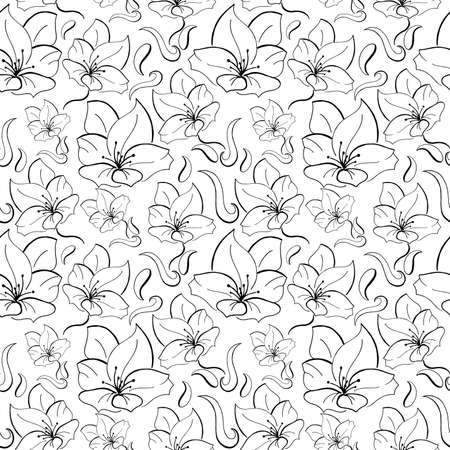 Flower monochrome pattern. Black hand-drawn flowers on a white background. Seamless vector backdrop