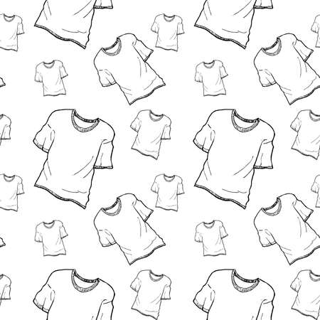T-shirt sketch pattern. Hand painted t-shirt, seamless pattern on a transparent background. Black seamless vector pattern without background.