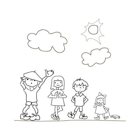 Doodle children. Hand drawn simple childrens coloring page, children s drawing a friends,clouds and sun. Doodle style illustration, isolated on white background. Stock Photo