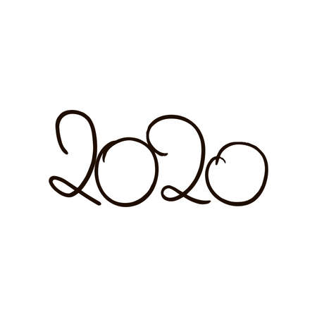 2020 doodle. Hand drawn simple lettering 2020. Vector, isolated on white background Stock Photo