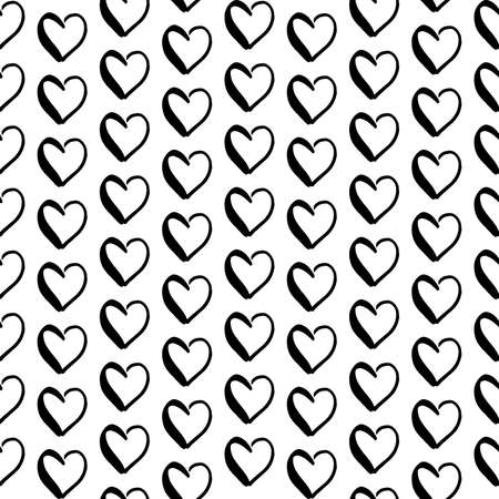 Hearts doodle pattern. Hand-drawn black hearts on white background. Seamless vector backdrop. Black and white Stock Photo