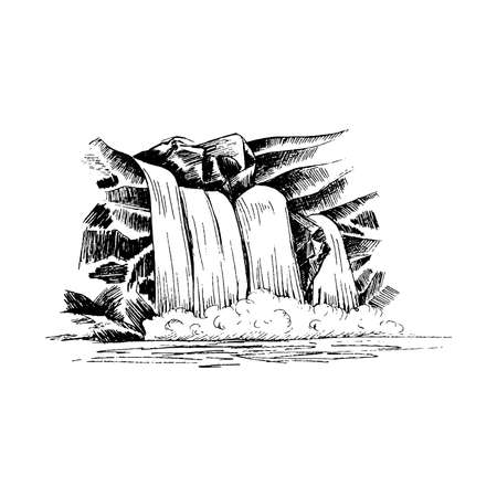 Waterfall vector sketch, cascade waterfall in the rocks hand-drawn vector illustration, landscape with a waterfall, black and white vector sketch isolated on white background for your design.