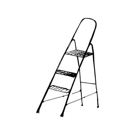 Stepladder sketch. Hand drawn stair, step ladder, rung ladder Black sketch style illustration, isolated on white background 스톡 콘텐츠