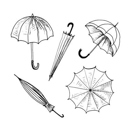 Umbrellas set. Collection of isolated sketchy style umbrellas. Doodle umbrellas in black and white. Hand drawn vector illustration without background Иллюстрация