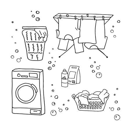 Laundry doodle set, washing clothes, washing machine, laundry detergent, laundry basket, clothes dry on ropes, dryer for clothes. Black and white vector illustration isolated on white background. 向量圖像