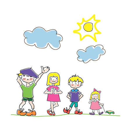 Doodle children. Hand drawn simple childrens coloring page, children s drawing a friends,clouds and sun.Bright and multicolor doodle style illustration, isolated on white background. Illustration