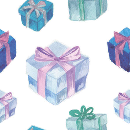 Festive background. Hand drawn blue watercolor gift boxes with ribbon on white background. Seamless pattern. Stock Photo