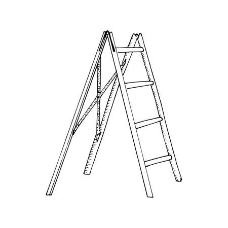 Stepladder sketch. Hand drawn stair, step ladder, rung ladder Black sketch style illustration, isolated on white background Illustration