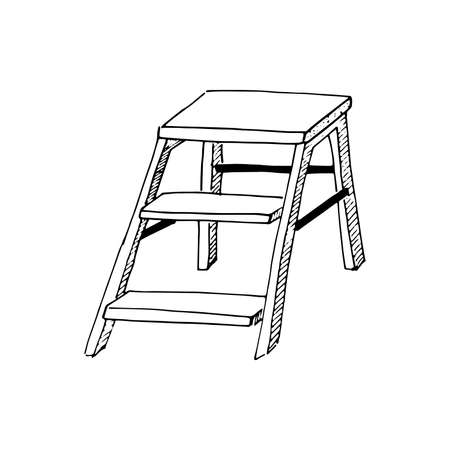 Stepladder sketch. Hand drawn stair, step ladder, rung ladder Black sketch style illustration, isolated on white background 일러스트