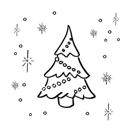 Doodle christmas tree. Simple hand drawn decorated christmas tree. Vector illustration. Isolated on white.