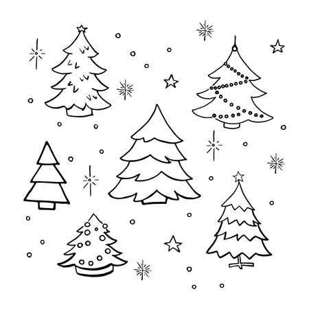 Christmas trees doodle set. Collection of hand drawn decorated christmas trees. Vector illustration. Isolated on white.