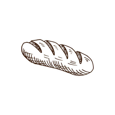 Hand drawn loaf of bread. Sketch style vector illustration. Isolated on white