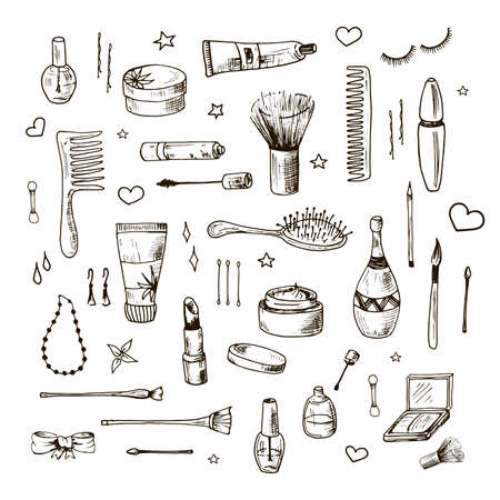 Beauty doodle set. Collection of hand drawn beauty, makeup and cosmetics icons and objects. Sketch design elements. Isolated vector illustrations on a white background  イラスト・ベクター素材