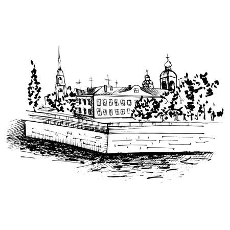 Landscape in sketch style. City landscape with a river. Monochrome black and white drawing. Vector