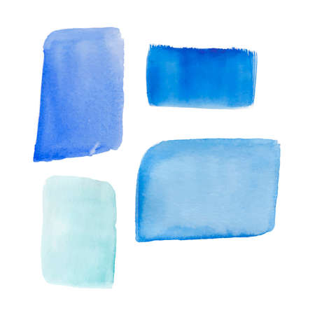 Set of blue watercolor vector spots, hand drawn watercolor stains smears brush, isolated on white background.