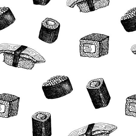 Sushi pattern. Hand-drawn japanese food sushi and rolls on a white background. Seamless vector backdrop. Black and white
