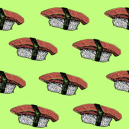 Sushi pattern. Hand-drawn japanese food sushi on a green background. Seamless vector backdrop