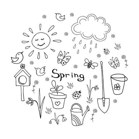 Spring doodle collection. Set of simple hand-drawn cute elements. Black vector illustration isolated on white Ilustracja