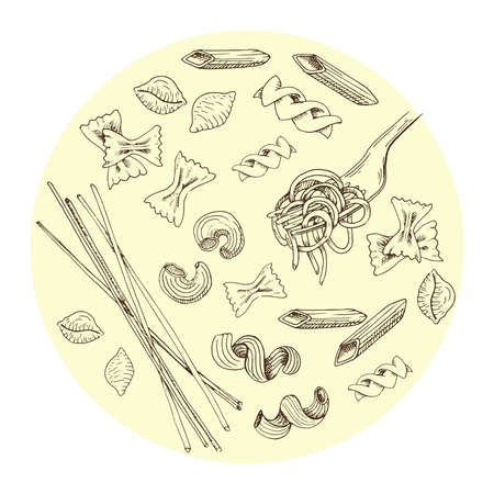 Hand drawn pasta set. Sketch style pasta collection. Vintage vector illustration.