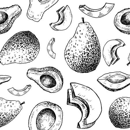 Avocado sketch pattern. Hand drawn black avocado on transparent background. Seamless vector backdrop. Vettoriali