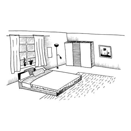 Interior sketch. Hand drawn drawing of a room with a bed and a wardrobe. Black and white vector illustration.