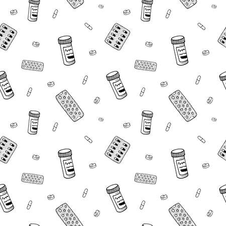 Medical doodle pattern. Healthcare and pharmacy hand drawn objects, symbols and items on transparent backdrop. Seamless vector background.