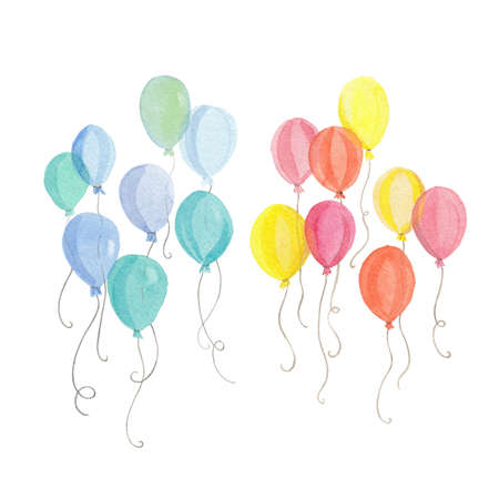 Watercolor air balloons. Hand-drawn illustration isolated on white.