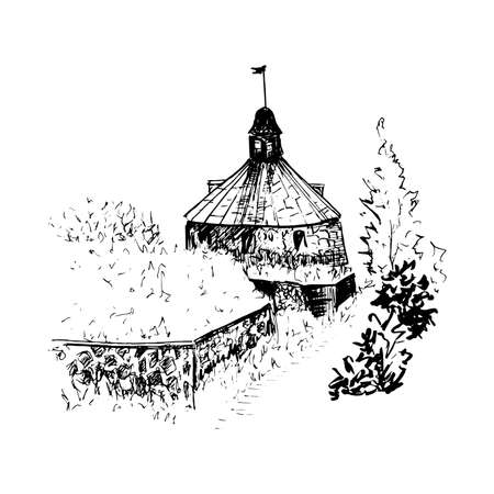 Landscape with sketch style. Ancient building. Korela fortress, Priozersk Russia Illusztráció