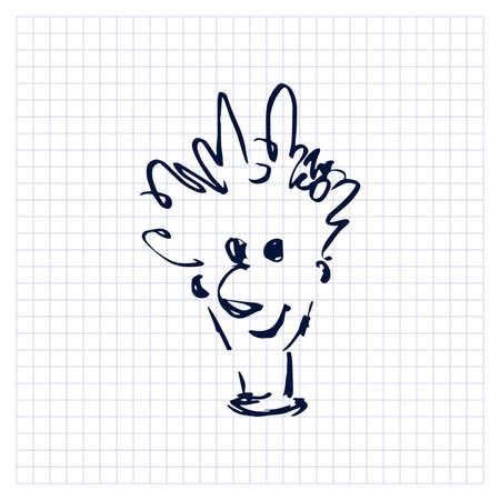Portrait. Funny man. Sloppy simple one line doodle drawing. Vector illustration. Vektoros illusztráció