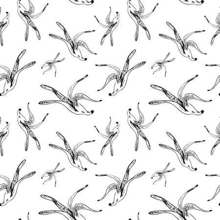 Banana peel pattern. Hand drawn banana skins on transparent backdrop. Sketch style. Seamless vecktor background. Vector Illustratie