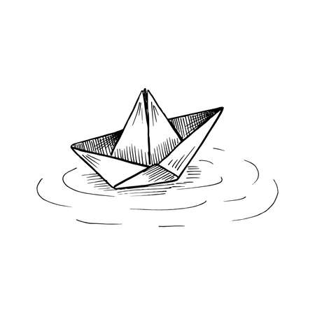 Paper boat on the water. Black and white sketch in sketch style. Vector illustration isolated on white. Çizim