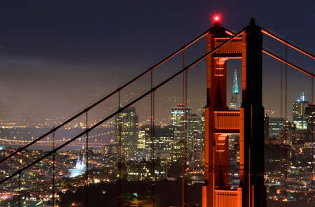 Golden Gate Bridge at night with San Francisco in the background.