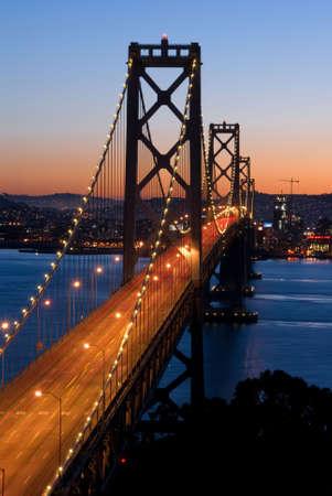 oakland: Bay Bridge, San Francisco at dusk. Shot from Yerba Buena Island.