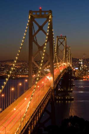 Bay Bridge, San Francisco at dusk. Shot from Yerba Buena island.  photo